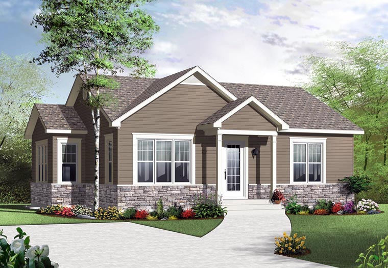 House Plan 76280 with 2 Beds, 1 Baths Elevation