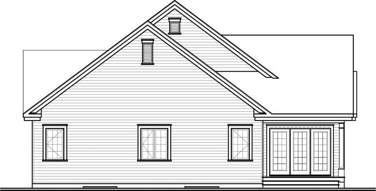 Country , Craftsman , Rear Elevation of Plan 76290
