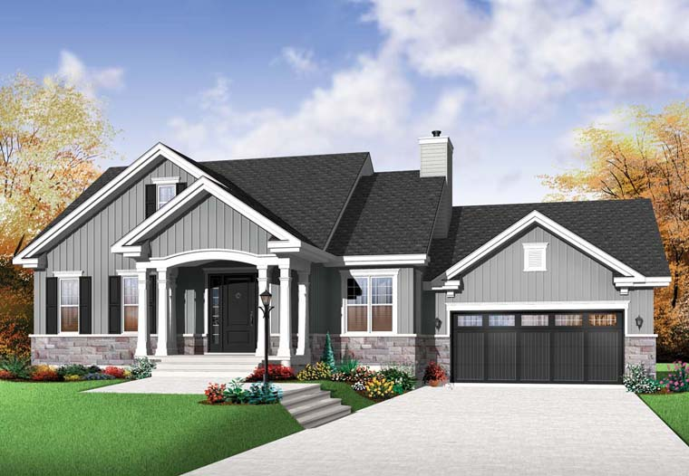 House Plan 76291 | Craftsman Style Plan with 1199 Sq Ft, 2 Bedrooms, 1 Bathrooms, 2 Car Garage Elevation