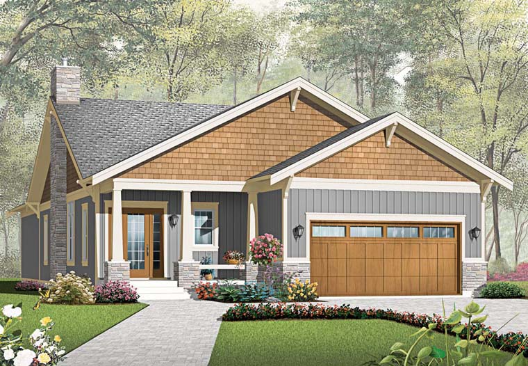 House Plan 76293 | Craftsman Style House Plan with 1838 Sq Ft, 3 Bed, 2 Bath, 2 Car Garage Elevation