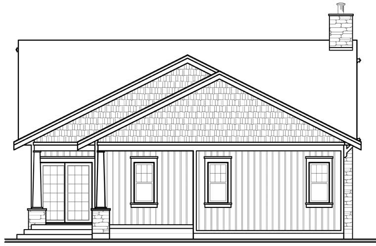 House Plan 76293 | Craftsman Style House Plan with 1838 Sq Ft, 3 Bed, 2 Bath, 2 Car Garage Rear Elevation