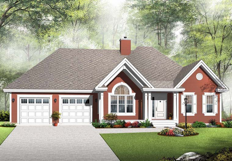 Country House Plan 76294 with 2 Beds, 1 Baths, 2 Car Garage Elevation