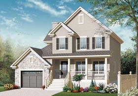 House Plan 76304 | Country, European Style House Plan with 1828 Sq Ft, 3 Bed, 2 Bath, 1 Car Garage Elevation