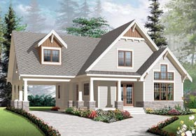 House Plan 76308 | Cottage Country Craftsman Style Plan with 1348 Sq Ft, 3 Bedrooms, 2 Bathrooms, 1 Car Garage Elevation