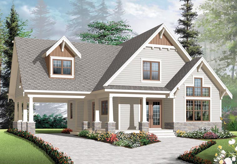 Cottage Country Craftsman House Plan 76308 Elevation