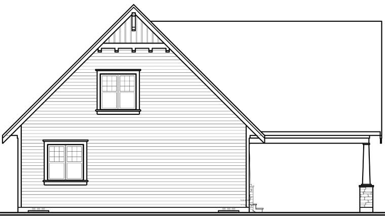 Cottage Country Craftsman House Plan 76308 Rear Elevation