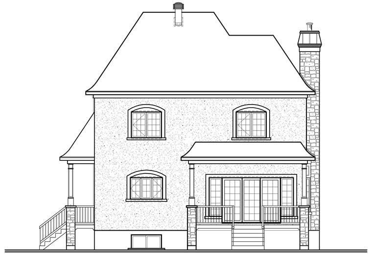 European House Plan 76309 Rear Elevation