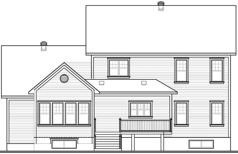 Country European Farmhouse House Plan 76320 Rear Elevation