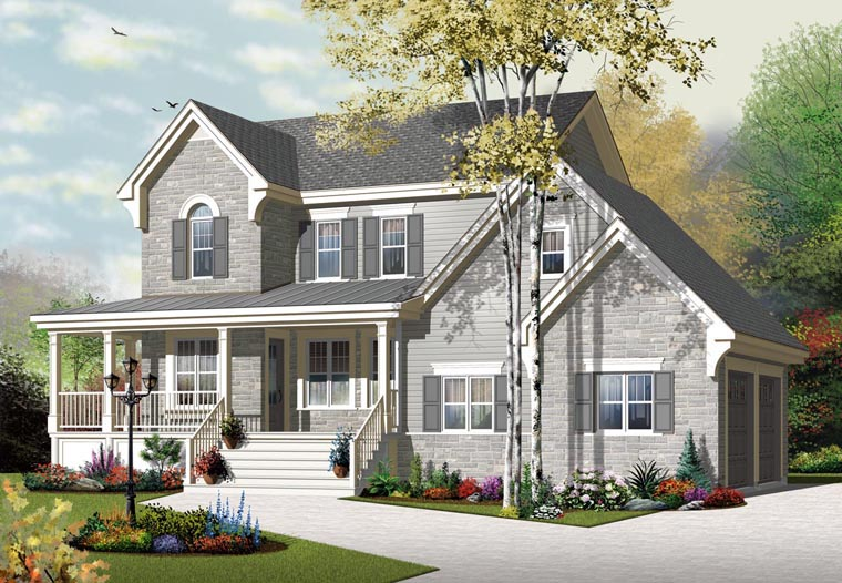 European House Plan 76322 with 3 Beds, 3 Baths, 2 Car Garage Elevation