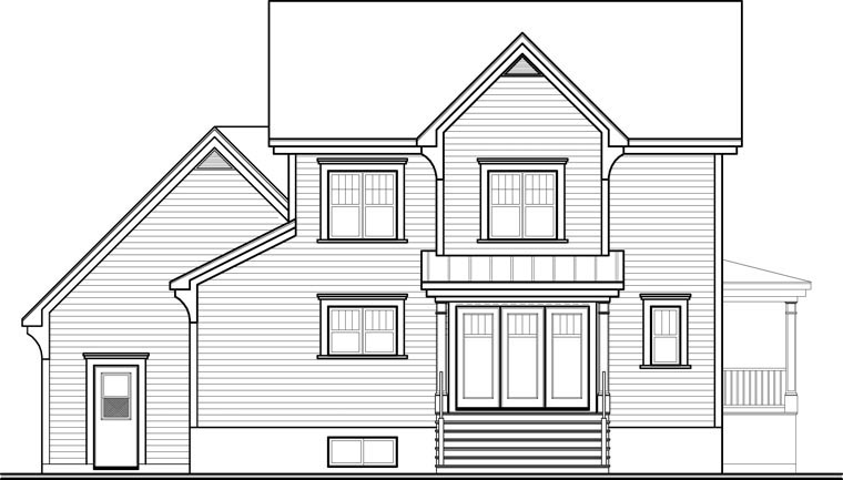 European House Plan 76322 with 3 Beds, 3 Baths, 2 Car Garage Rear Elevation