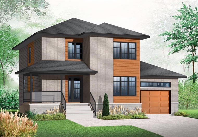 Modern, Contemporary, House Plan 76324 with 3 Beds, 3 Baths, 1 Car Garage Elevation