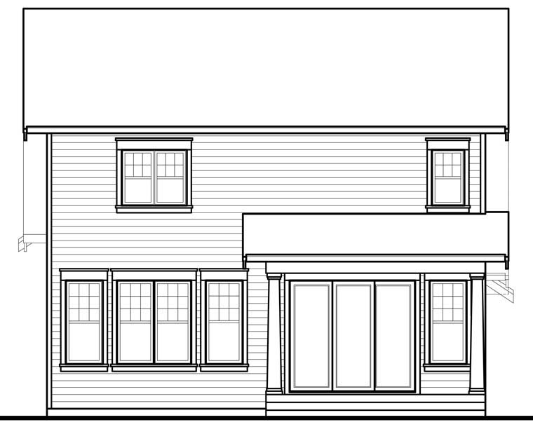Country Craftsman Rear Elevation of Plan 76328