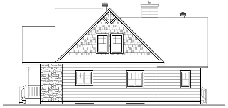 Cottage Country Craftsman House Plan 76329 Rear Elevation