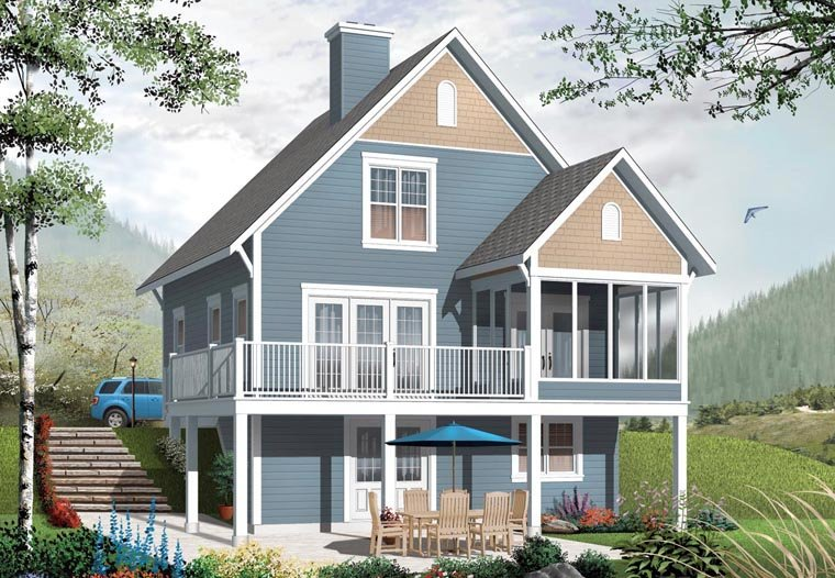 Cottage House Plan 76331 with 3 Beds, 2 Baths Elevation