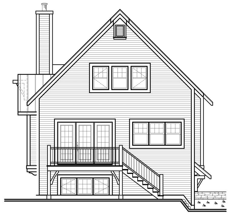 Cottage , Country , Craftsman House Plan 76336 with 3 Beds, 3 Baths Rear Elevation