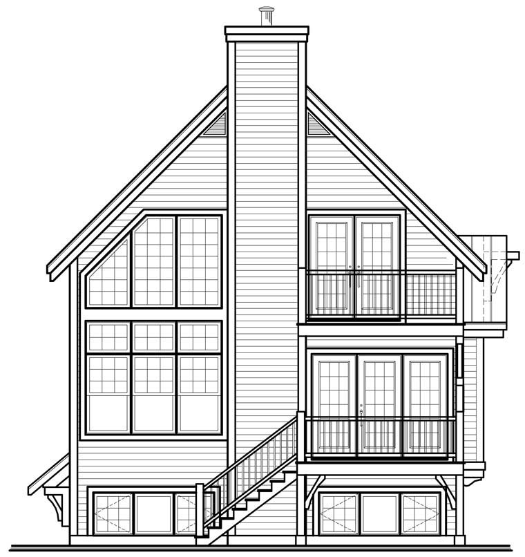 Cottage Country Craftsman House Plan 76337 Rear Elevation