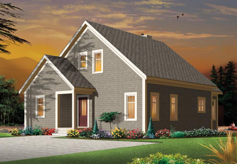 House Plan 76340 | Cape Cod Cottage Country Craftsman Style Plan with 1742 Sq Ft, 3 Bedrooms, 2 Bathrooms Rear Elevation