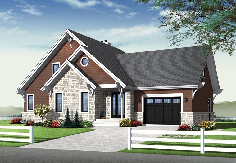 Cottage, Craftsman House Plan 76342 with 3 Beds, 3 Baths, 1 Car Garage Elevation