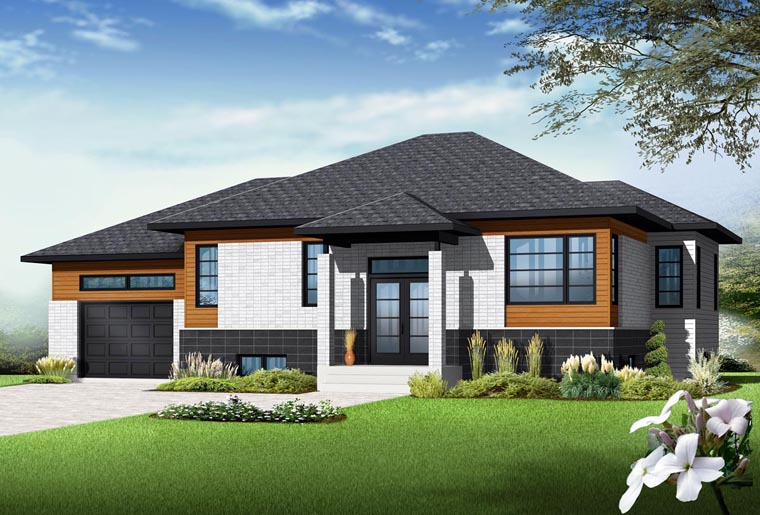 Contemporary House Plan 76343 with 2 Beds , 1 Baths , 1 Car Garage Elevation