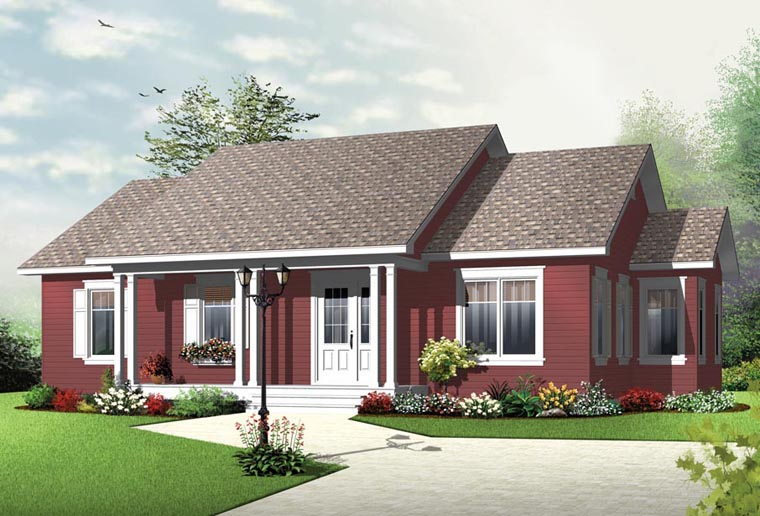 Country House Plan 76344 with 3 Beds, 1 Baths Elevation