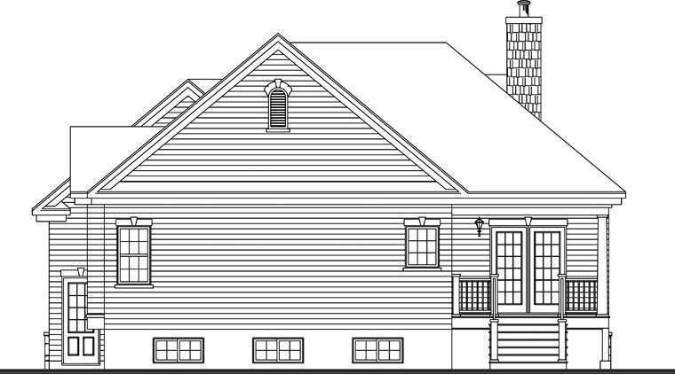 Country Craftsman House Plan 76349 Rear Elevation