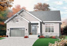 Cape Cod , Craftsman House Plan 76353 with 2 Beds, 1 Baths, 1 Car Garage Elevation