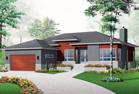 Contemporary , Modern House Plan 76355 with 3 Beds, 1 Baths, 2 Car Garage Elevation