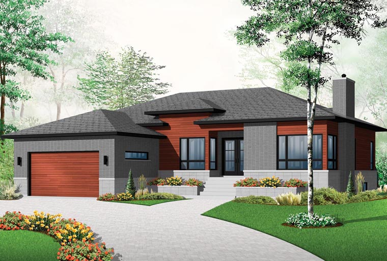 House Plan 76355 - Modern Style with 1676 Sq Ft, 3 Bed, 1 Bath