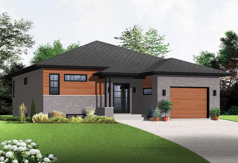 Contemporary, Modern House Plan 76356 with 2 Beds, 1 Baths, 1 Car Garage Elevation