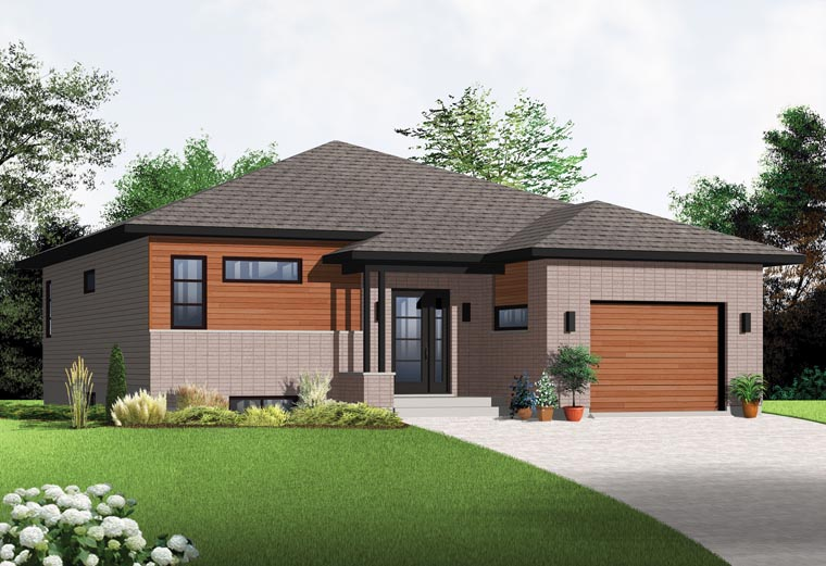 Contemporary, Modern House Plan 76356 with 2 Beds, 1 Baths, 1 Car Garage Picture 1