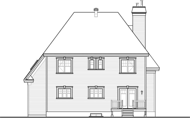 European House Plan 76360 Rear Elevation
