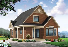 Cottage , Craftsman House Plan 76363 with 1 Beds, 1 Baths Elevation