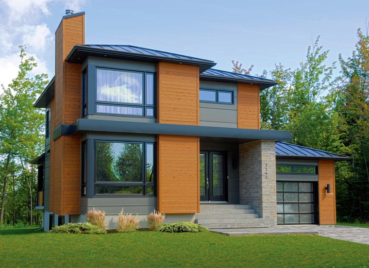 Contemporary House Plan 76367 with 3 Beds, 2 Baths, 1 Car Garage Picture 1