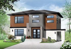 Contemporary , Modern House Plan 76368 with 3 Beds, 2 Baths Elevation