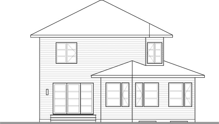 Contemporary Modern Rear Elevation of Plan 76369