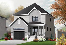 House Plan 76371 | European Style Plan with 1580 Sq Ft, 3 Bedrooms, 2 Bathrooms, 1 Car Garage Elevation