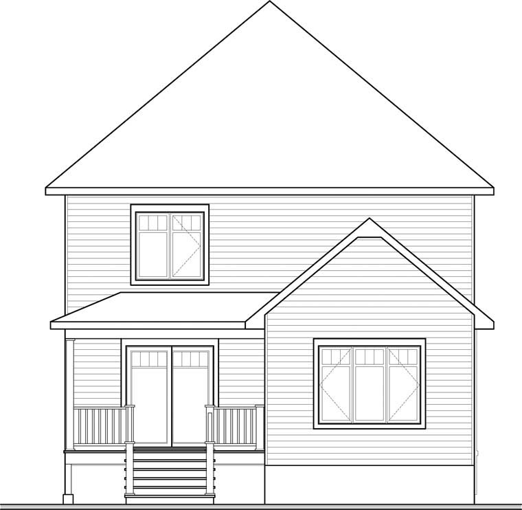 European House Plan 76371 Rear Elevation