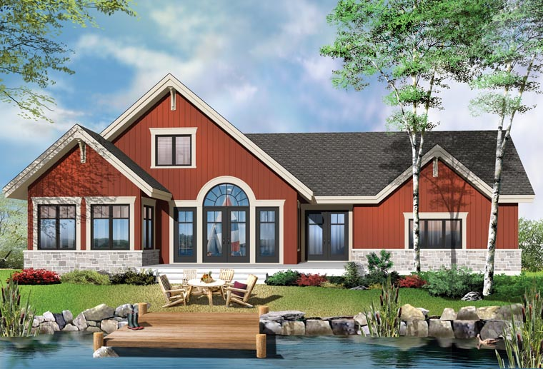 Cottage Country Craftsman House Plan 76372 Rear Elevation