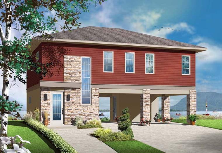 House Plan 76373 | Contemporary Cottage Style Plan with 1337 Sq Ft, 2 Bedrooms, 1 Bathrooms Elevation