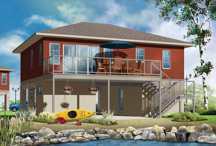 House Plan 76373 | Contemporary Cottage Style Plan with 1337 Sq Ft, 2 Bedrooms, 1 Bathrooms Rear Elevation