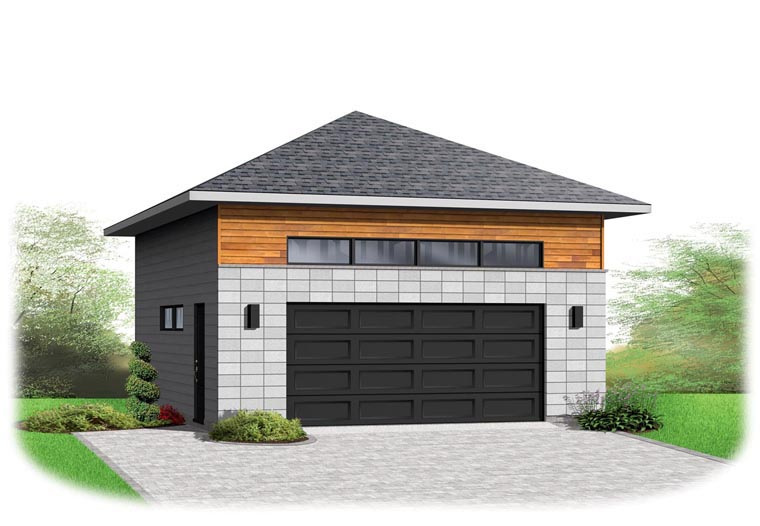 Contemporary Elevation of Plan 76377