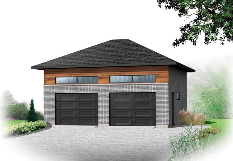 Contemporary 2 Car Garage Plan 76378 Front Elevation