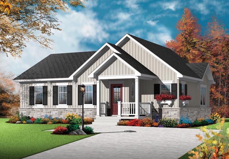 Country Craftsman Elevation of Plan 76382