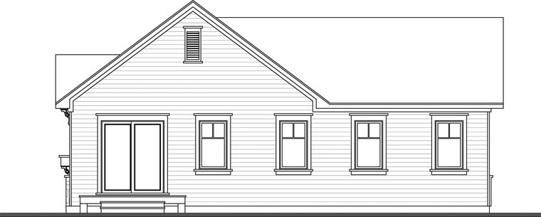 Country Craftsman Rear Elevation of Plan 76382