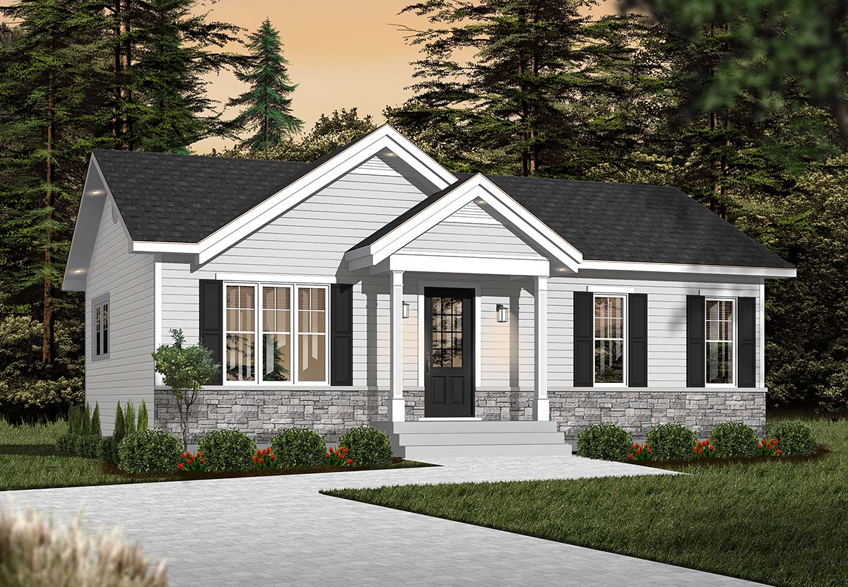 Cabin Ranch Traditional Elevation of Plan 76385