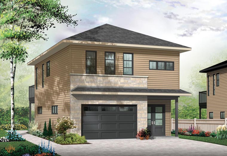 Contemporary, Cottage 1 Car Garage Apartment Plan 76395 with 1 Beds, 2 Baths Elevation