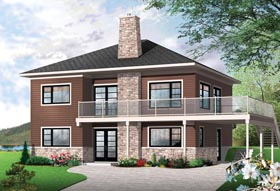 Contemporary , Cottage House Plan 76397 with 3 Beds, 2 Baths Elevation