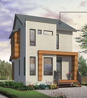 House Plan 76398 | Contemporary Style Plan with 976 Sq Ft, 3 Bedrooms, 2 Bathrooms Elevation