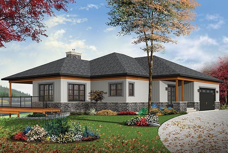 House Plan 76406 | Coastal Contemporary Ranch Style Plan with 2890 Sq Ft, 4 Bedrooms, 4 Bathrooms, 2 Car Garage Elevation