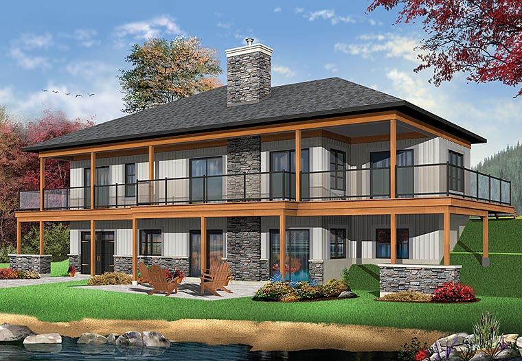 House Plan 76406 | Coastal Contemporary Ranch Style Plan with 2890 Sq Ft, 4 Bedrooms, 4 Bathrooms, 2 Car Garage Rear Elevation